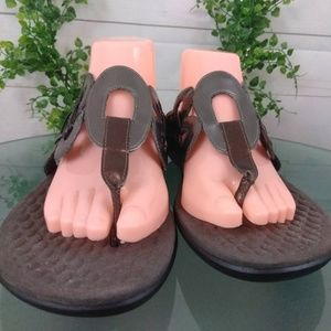 Privo Clarks Sandals Thong Slip on Pewter 11M